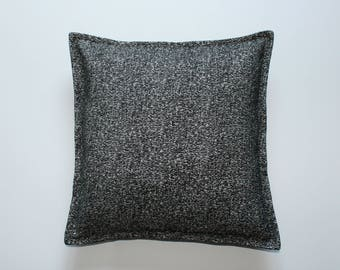 Black and silver chenille pillow covers 14x14, 16x16, 18x18 inch 35x35, 40x40, 45x45 cm