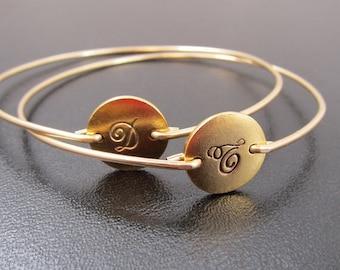 Cursive Initial Bracelet, Gold, Personalized Bracelet for Women, Custom Hand Stamped Bracelet Bangle, Hand Stamped Jewelry, Custom Jewelry
