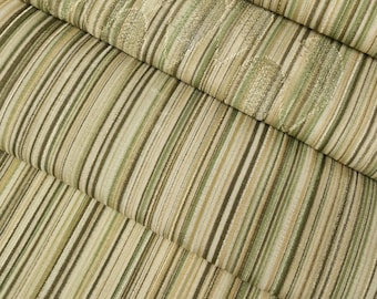 Silk Kimono fabric - earth tone stripes with woven drop pattern- by the yard
