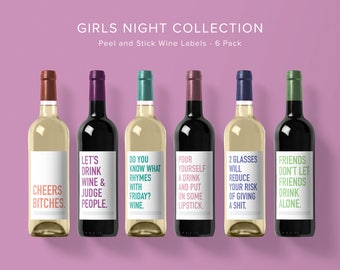 Girly Wine Label Collection | Wine Label 6 Pack | Funny Wine Labels | Wine Label | Wine Bottle