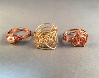 BOGO Copper Pearl Ring, Copper Ring, Gold Ring, Three Wire Wrapped Rings, Ring Size 6.75, One of a Kind, Previously 45 Dollars ON SALE