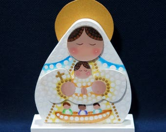 Our Lady of Charity- Virgen de la Caridad del Cobre - Small White MDF Ornament - Pointillism - Baptism, First Communion, Catholic Gifts