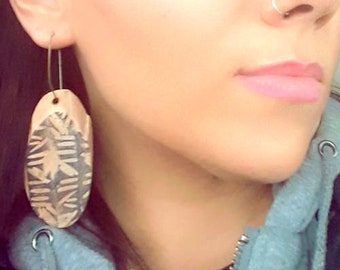 Wood Earrings | Urban | Hand Inked | Tribal | Gift For Her