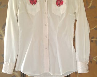 70s embroidered Rockmount Ranch Wear white Western shirt