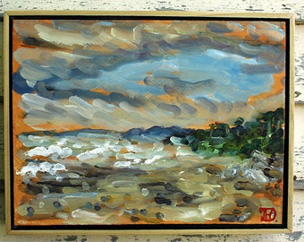 "Mendocino Coast, Plein Air Landscape Oil Painting, 9x12"""