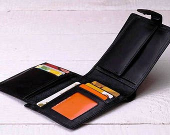 Leather trifold wallet Mens leather wallet Personalized wallet Business card wallet Leather purse wallet Leather coin purse Leather billfold
