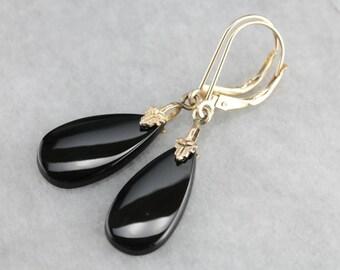 Black Onyx Drop Earrings, Teardrop Earrings, Black and Gold, Simple Earrings V1LT5TAJ-P