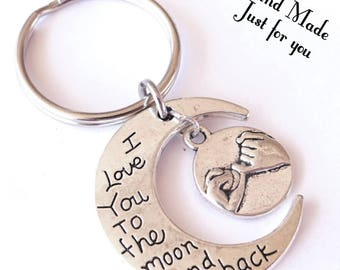 I love you to the moon and back keychain, best friends keychain, BFF, gift for BFF