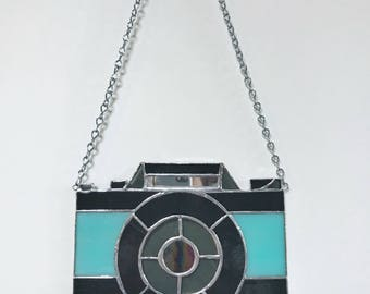 Retro Camera Stained Glass Wall Hanging