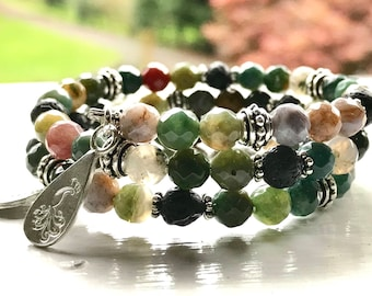 SPARKLING Jasper Essential Oil Diffuser Gemstone Fully Adjustable Bracelet w/ Sample of our Happy Go Lucky Essential Oil Aromatherapy Blend