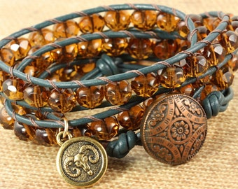 Zodiac Jewelry Aries Bracelet, Star Sign Jewelry, March Birthday, Boho Wrap Bracelet, Astrological Signs, Horoscope Bracelet, Leather Wrap