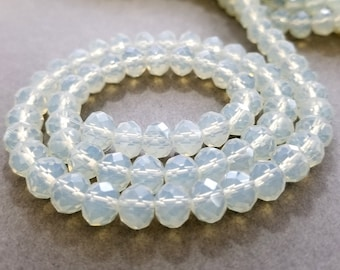 Faceted Opalite Glass Rondelle Beads 8x6mm | Strand of 70 Beads
