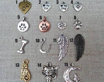 Add-on Pet Charm - Paw Charm Cat Charm Angel Wing Love my Pet add on Pet Memorial Add on - P33