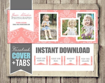 Facebook Cover Timeline for Photographers - Pink Damask Photos - with Bonus Matching Tabs - INSTANT DOWNLOAD