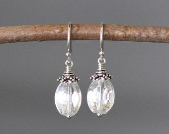 Quartz Crystal Earrings - Clear Quartz Earrings - Bali Silver Earrings - Silver Dangles - Wire Wrapped Earrings Silver- April Birthstone