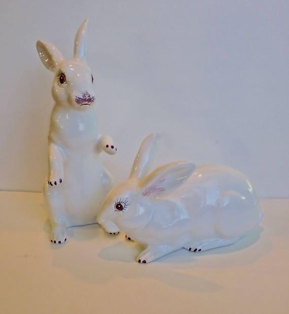 RABBIT PAIR ~ Made in Italy ~ LARGE Ceramic Rabbits ~ Home Decor ~ Patio Decor ~ Shabby Chic to Contemporary Decor