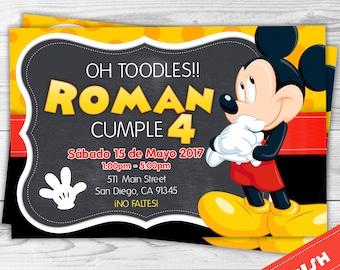 Invitacion Mickey Mouse - Disney - Mickey - Invitación Español personalizada para imprimir - Spanish