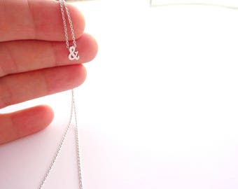 Silver Necklace, Silver Ampersand Necklace Small Silver Necklace Silver Jewelry, Women Girlfriend Gift, Delicate Silver Bridesmaids Necklace
