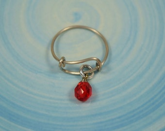Stainless Steel  Expandable Birthstone Ring....Choice of Birthstone