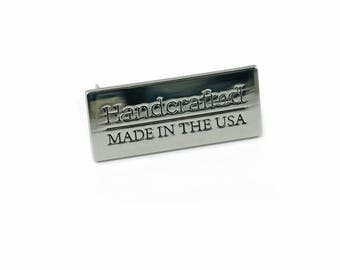 Handcrafted, Made in the USA Metal Bag Tag by Emmaline Bags, Nickel Bag Tag