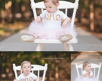 First Birthday Outfit Girl   1st Birthday Girl Outfit   Pink and Gold First Birthday bodysuit