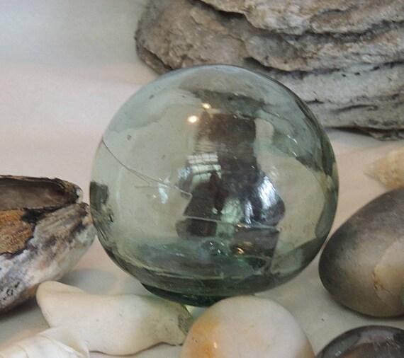 Vintage Japanese GLASS FISHING FLOAT Rare Kanji Maker's Mark & Straw Marks  (#4)