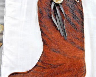 Handmade Cowhide Leather Xmas Christmas Western Boot Stocking Cowboy Cowgirl