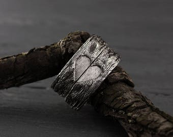 Family heart tree bark wedding bands set, Half heart wedding bands, His and Her love band, Family tree His and Her ring, Silver bark rings