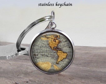 Map jewelry etsy world map necklace jewelry stainless 25mm choose necklace or keychain and map map gumiabroncs Gallery