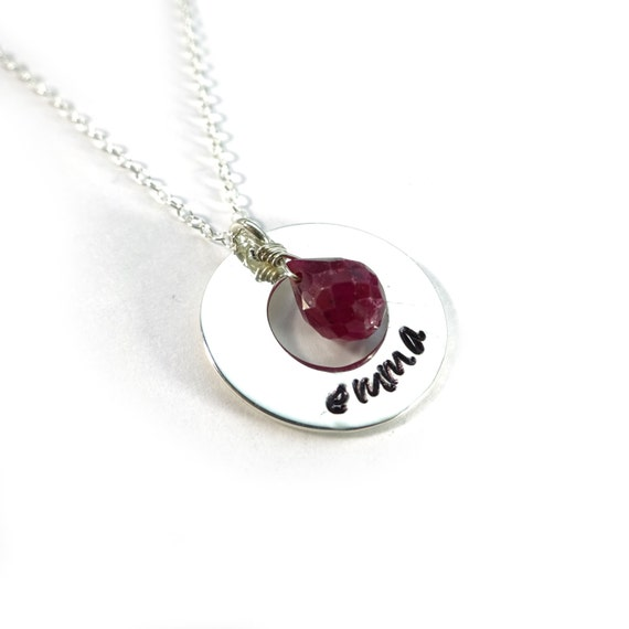 Silver Personalized Necklace with Tiny Gemstone