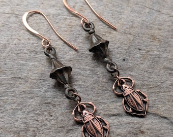Scarab Earrings - Copper - Egyptian - Handmade - Jewelry - Unique - Gift - Art Nouveau - Goth - Statement - Holiday - One of a Kind - Scarab
