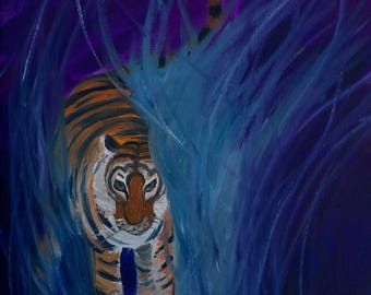 Tiger Painting, Tiger in the Grass (Original Oil Painting), Small Painting