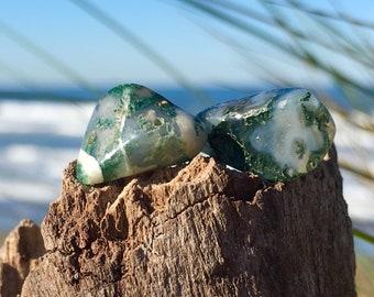 Moss Agate Stud Earrings, green natural jewelry, polished gemstone nugget earrings