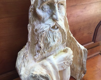 Wood Carving, Wood Spirit Carving, High End, Sculpture, Hand Carved Wood Art, by Josh Carte, Drunk, Old Man, Statue, Bar Decor, Wood Gift