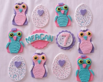 12 HATCHIMALS Edible Fondant Cupcake Toppers Personalized