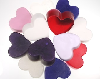 One Dozen Little Heart Soaps - Valentine's Day, party favor, i heart you, guest soaps, wedding favor, wedding shower