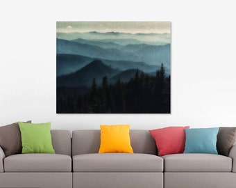 Canvas Art, Mountains, Blue, Sky Blue, Midnight Blue, fPOE, 12x16, 14x14, 16x20, 18x24, 20x30, 24x32, 30x30, 30x40, 40x60
