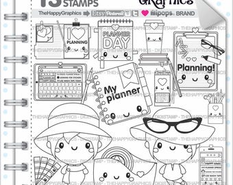 Planner Girl Stamps 80OFF Commercial Use Digi Stamp Digital Image Planning Digistamp Coloring Page Cliparts