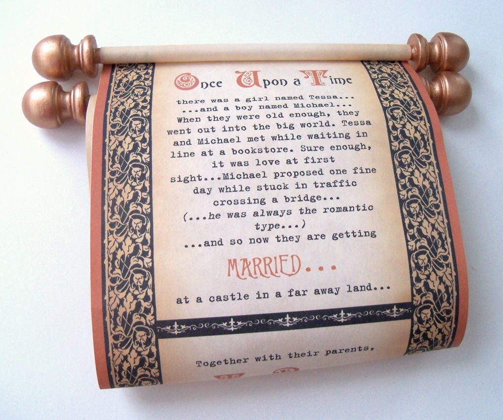 Once upon a time wedding invitation copper and black wedding