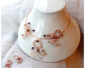 copper orange wedding necklace