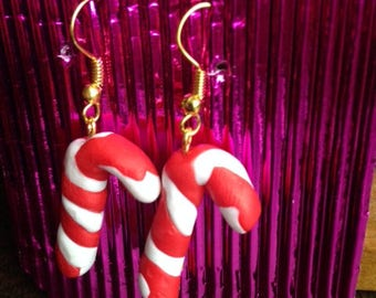 Christmas, Polymer Candy Cane, Earrings, Jewellery,