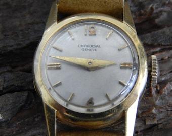 18kt Gold Vintage 1960's Women's.  Gold Universal Geneve 17 Jewel Watch
