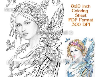 Jaye & Feathered Friends Fairy Tangles Printable Coloring Sheets Fairies Grayscale Images Adult Digital Coloring - Coloring for Grownups