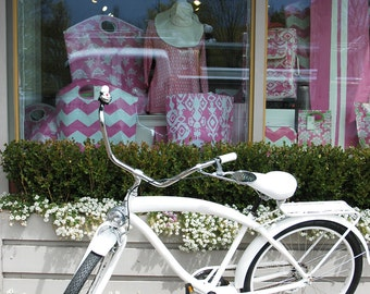 White Beach Cruiser - fine art photo - White Beach Cruiser in front of Dress Shop Window - 8x10