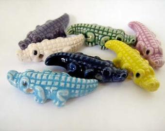 10 Large Alligator Beads - mixed