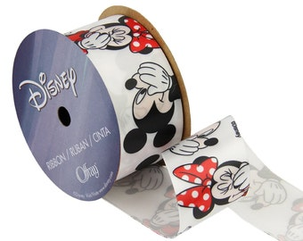 """1.5"""" Licensed DISNEY RIBBON - 3 yards (9 feet spool)- White Cute Disney Ribbon with Mickey Mouse and Minnie Mouse"""