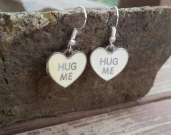 White Heart Conversation Hug Me Drop Earrings, Valentine Jewelry, Teens Tweens Kids Womens Earrings, Heart Charms, Valentine's Gift Ideas