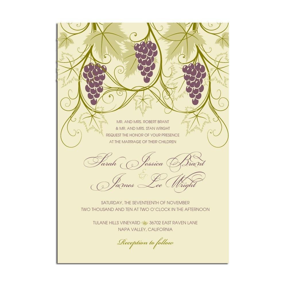 Vineyard Themed Wedding invitations Stationery by
