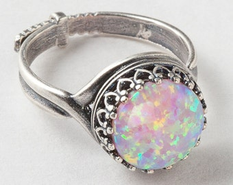 Silver Opal Ring, Pink Opal Ring, Silver Filigree Ring with Adjustable Band, Statement Ring, Cocktail Ring, October Birthstone Jewelry Gift