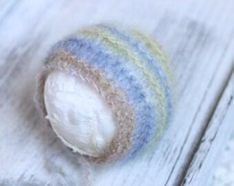 Knitted New born  Mohair Bonnet,New born bonnet